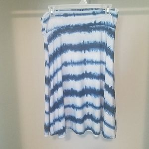 Lularoe blue & white striped skirt